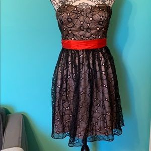 Phoebe Couture Formal Strapless Lace Floral Dress